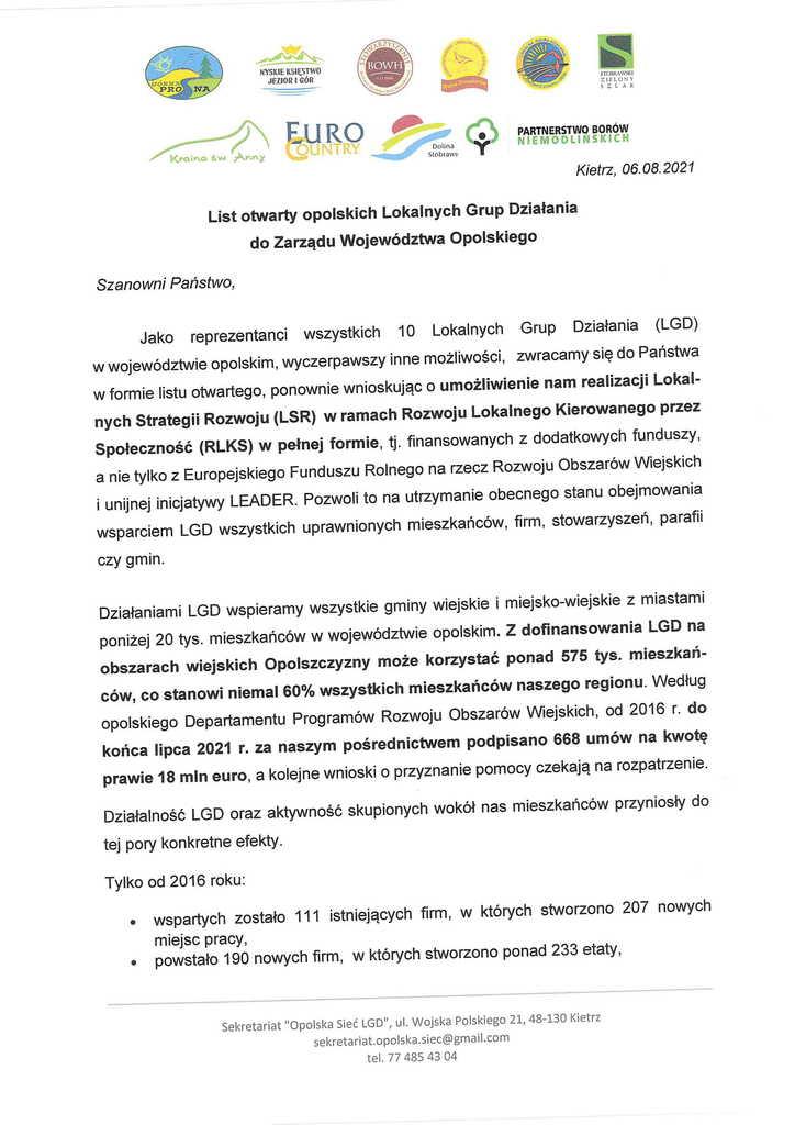 List otwarty opolskich LGD do Zarządu Województwa Opolskiego-1.jpeg